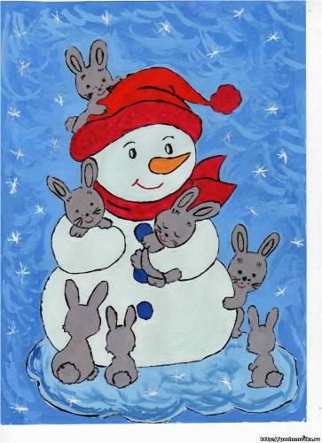 Новогодние рисунки детей своими руками фото